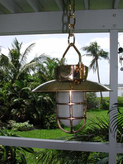 brass hanging nautical light