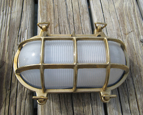 brass oval nautical dock light