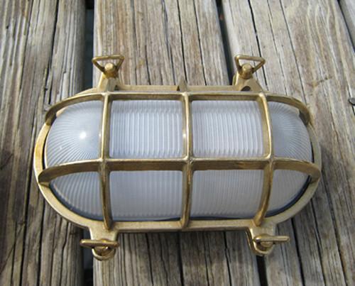 brass oval nautical dock light