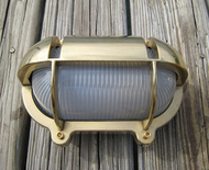 small brass hooded nautical dock light