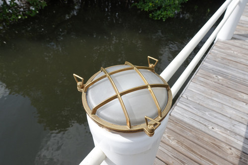 brass bulkhead low profile dock piling light