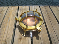 brass and copper marine bulkhead light