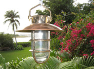 Large Copper Hooded Hanging Passageway Nautical Light