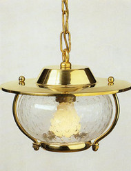 Hanging Brass European Nautical Light w/seeded glass
