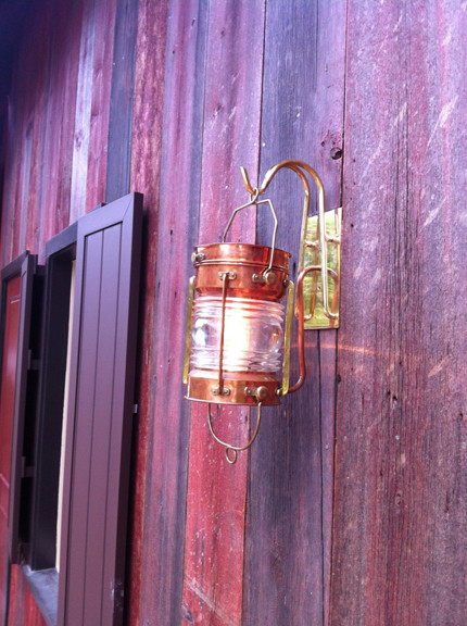 vintage copper hanging nautical anchor light- shown with custom built brackets(not included)