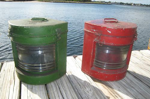 vintage ship lights red green