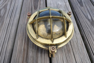 vintage brass bulkhead nautical round light