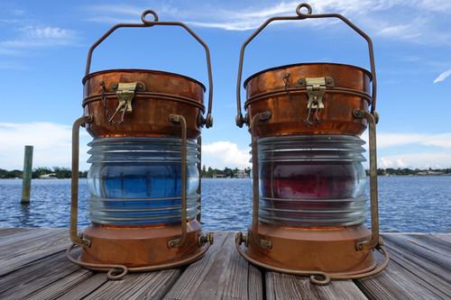vintage Tung Woo copper ship lights