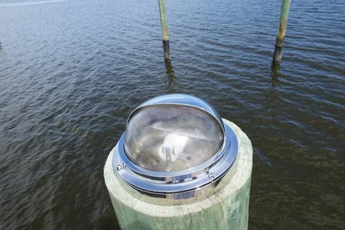 hooded chrome dock light