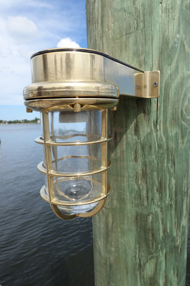 Nautical Caged Passageway Marine Dock Light Solid Brass