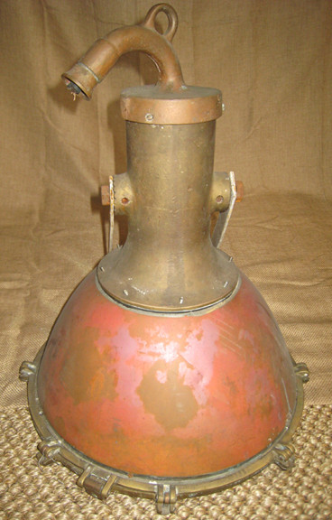 Vintage nautical smooth copper ship light