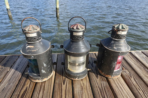 Galvanized set of nautical lanterns