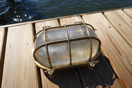 large brass oval nautical dock light