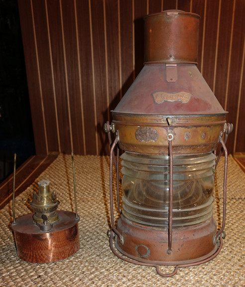 Copper nautical ships light with oil pod