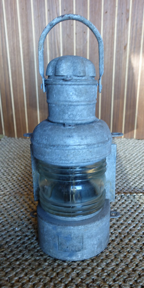 Vintage galvanized ship's light