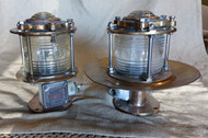 Details about  Vintage brass ship pedestal marine dock light-Vintage pedestal ship light pair