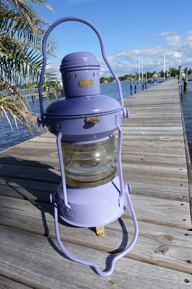 French Lilac painted ship's anchor light