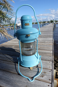Satin Aqua hand painted ship's nautical light