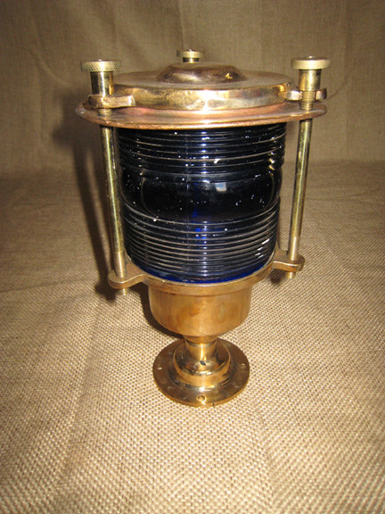 British Blue/Green lens pedestal light- you will receive a pair of matching  lights