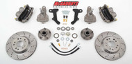"""Buick Special 1964-1972 13"""" Front Cross Drilled Disc Brake Kit & 2"""" Drop Spindles; 5x4.75 Bolt Pattern - McGaughys Part# 63236"""