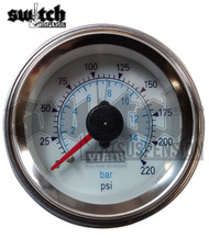 "Viair Single Needle 220 PSI 2.0"" Gauge White Face - 90089"