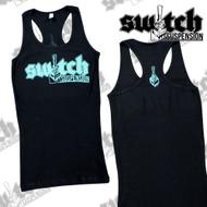 Switch Suspension Ladies Tank Top Small Logo w/ Rear Print Black / Teal