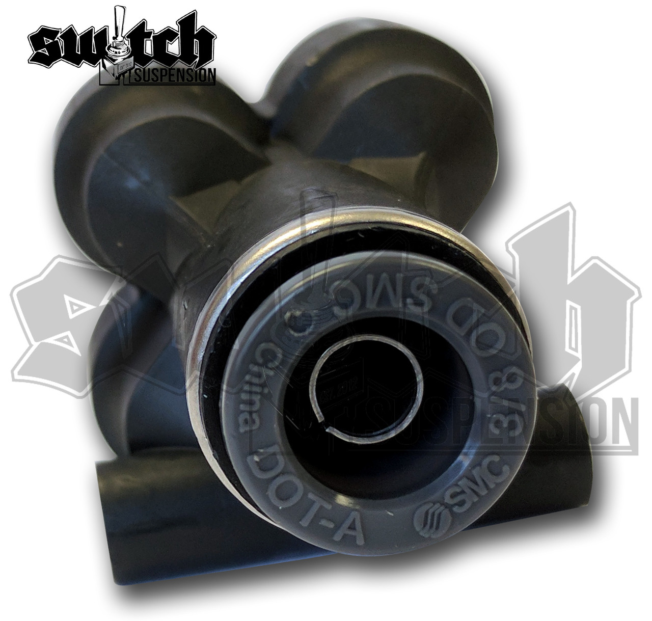 """Accuair Push In 90 Degree DOT Tube Connector Fitting 3//8/"""" Stem to 1//4/"""" PTC"""