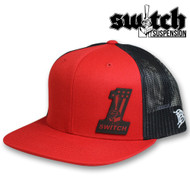 Switch ONE Leather Fire Patch Red and Black Trucker Hat