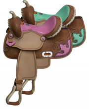 Double T Barrel Saddle in Turquoise or Pink Alligator Print 511813