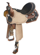 Double T Barrel Saddle 021 - Barrel Racer Conchos - Western Horse Saddles