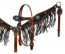 Showman Headstall Breast Collar Set Turquoise Conchos & Leather Fringe 12917 - Western Tack
