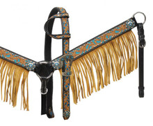 Showman Headstall Breast Collar Set Turquoise Inlay & Leather Fringe 12909 - Western Tack
