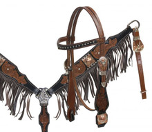 Showman Headstall Breast Collar Set Leather Fringe 12848 - Western Tack