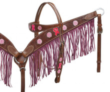 Showman Headstall Breast Collar Set Leather Dark pink Fringe 12913 - Western Tack