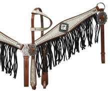 Showman Headstall Breast Collar Set White Leather with Black Fringe 12915 - Western Tack