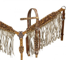 Showman Headstall Breast Collar Set Medium Leather with Tan Suede Fringe 6014 - Western Tack