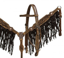 Showman Headstall Breast Collar Set Medium Leather with Black Suede Fringe 6015 - Western Tack