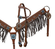 Showman Headstall Breast Collar Set Turquoise Crosses with Fringe 12911 - Western Tack