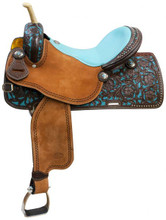 Showman Barrel Racing Saddle 6612 - Western Horse Saddles - Turquoise Saddle