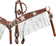 Showman Headstall Breast Collar Set Crossed Guns Conchos with Fringe 12914 - Western Tack