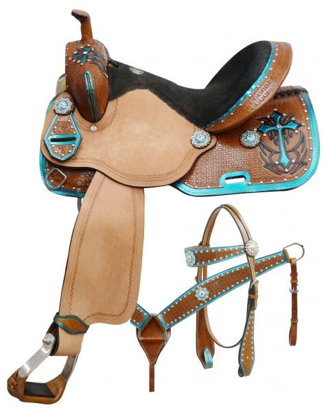 Double T Barrel Racing Saddle Set Teal Cross 14, 15, 16in  551