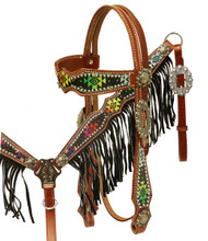 Showman Headstall Breast Collar Set Navajo Diamond with Fringe 13038 - Western Tack