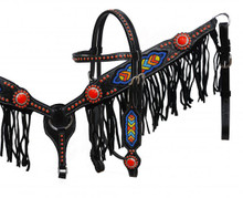 Showman Headstall Breast Collar Set Red Conchos with Fringe 4014 - Western Tack