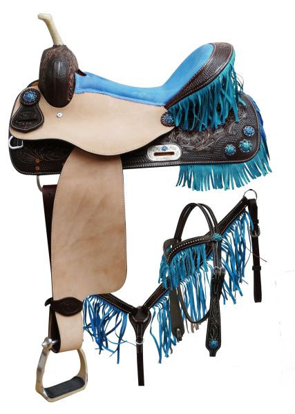 Double T Barrel Racing Saddle Set Pink or Teal with Fringe 14, 15, 16in   6628