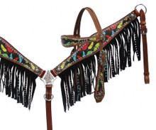 Showman Headstall Breast Collar Set Feather Print with Fringe 13063 - Western Tack