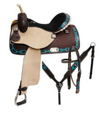 Circle S Barrel Racing Saddle 6654 - Western Saddles - Teal Pink Cross