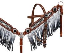 Showman Headstall Breast Collar Set White & Black Fringe 13528 - Western Tack