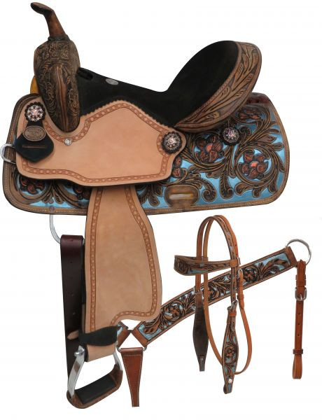 Double T Barrel Racing Saddle Set Blue Inlays 14  or 15  in  15802