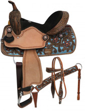 Double T Barrel Racing Saddle Set 15802 - Western Saddles Headstall & Breast Collar
