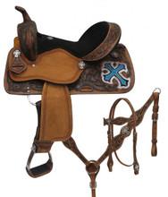 Double T Barrel Racing Saddle Set 15805 Cross Design - Western Saddles Headstall & Breast Collar